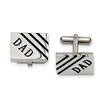 Stainless Steel Enamel Polished Dad Cuff Links Jewelry Gifts for Men