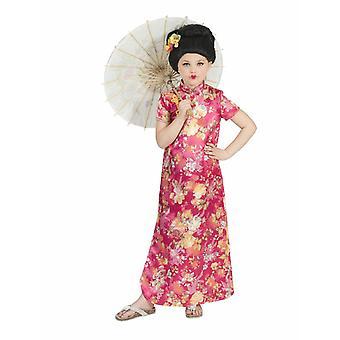 Costume pentru copii costum chinez Hanako fata rochie roz/colorat carnaval asiatic