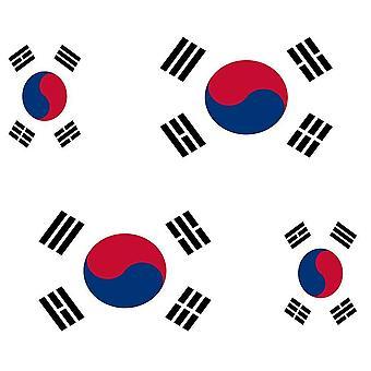 4 X Autocollant Sticker Voiture Moto Valise Pc Portable Drapeau Coree Du Sud Cor