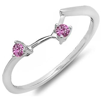 Dazzlingrock Collection 0.10 Carat (ctw) 10K Round Pink Sapphire Anniversary Wedding Guard Band 1/10 CT, White Gold