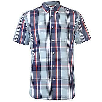 Pierre Cardin Mens Gents Short Sleeve Button Down Collar Check Shirt Top