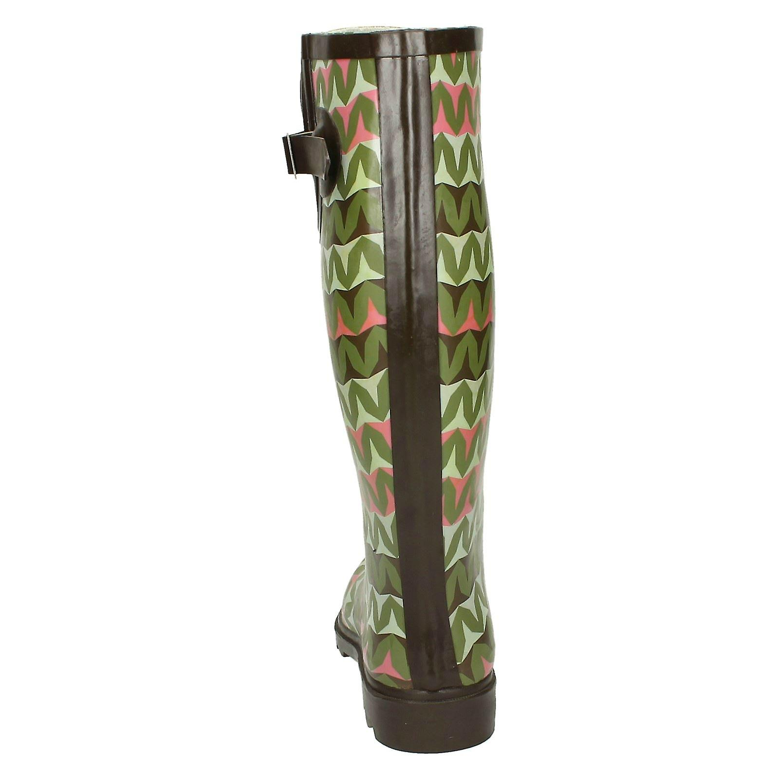 Spot On Womens/Ladies Zig Zag Pattern Rubber Wellington Boots dWwH7