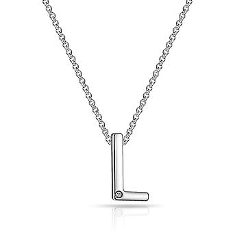 Initial necklace letter l created with swarovski® crystals