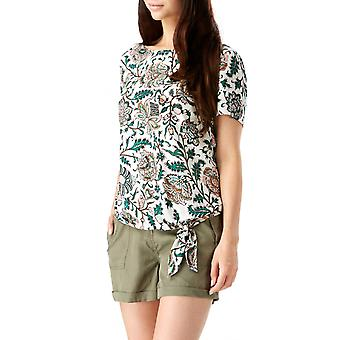 Sugarhill Boutique Women-apos;s Zia Tropical Floral Tie Front Tee Top