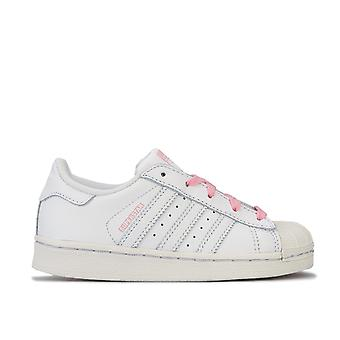 Junior Girls adidas Originals Superstar Trainers In White-Lace Fastening-