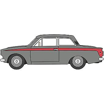 Oxford Diecast 76COR1008 Ford Cortina MkI Lombard grå/röd