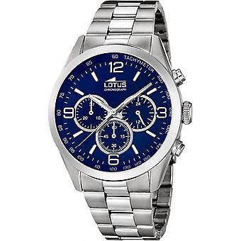 Lotus minimalistisk L18152-4 klocka-mäns silver stål kronograf klocka