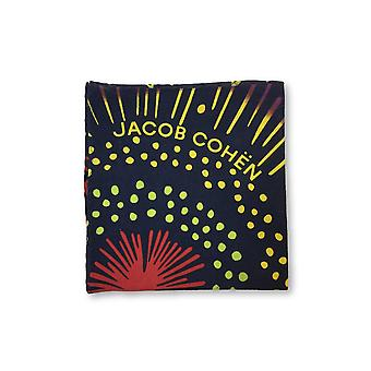 Jacob Cohen Pocket Square in navy and multi colour firework design