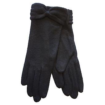 New Ladies Warm Fleece Winter Fashion Glove With Bow Cuff Detail