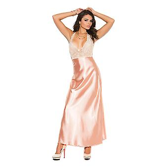 Womens Lace Charmeuse Halter Gown Lingerie Nightgown