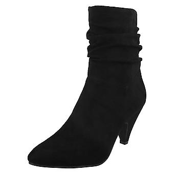 Spot On Womens / Ladies Mid Heel Rouched Ankle Boots Spot on Womens / Ladies Mid Heel Rouched Ankle Boots