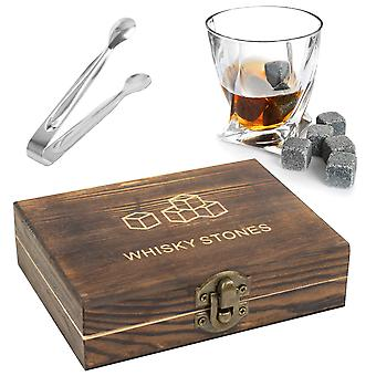 TRIXES Whiskey Stones Gift Set 9PC Whiskey Stones in Luxury Wooden Gift Box