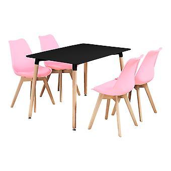 Jamie Halo ruoka pöytä setti, jossa 4 tuolia