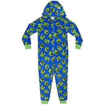 Minecraft Creeper Blue Boys Kids Long Sleeved Hooded Zip Onesie Pyjama