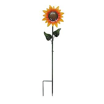 37 Inch Metal Sunflower Colorful Garden Stake Lawn Art Yard Decor with Leaves