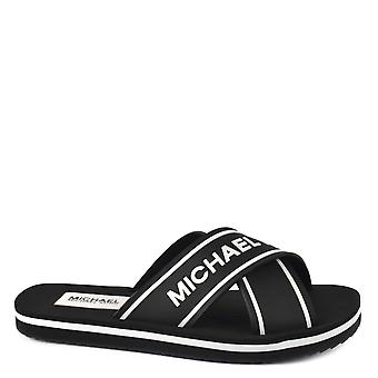 MICHAEL by Michael Kors Sparrow Black And White Logo Slide Sandal