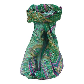 Mulberry Silk Traditional Square Scarf Vikash Emerald by Pashmina & Silk