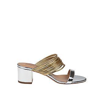 Aquazzura Renmids0spe960 Women's Silver/gold Leather Sandals