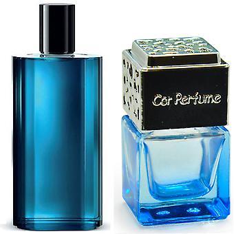 Davidoff Cool Water For Him Inspired Fragrance 8ml Blue Bottle Chrome Lid Car Air Freshener Vent Clip