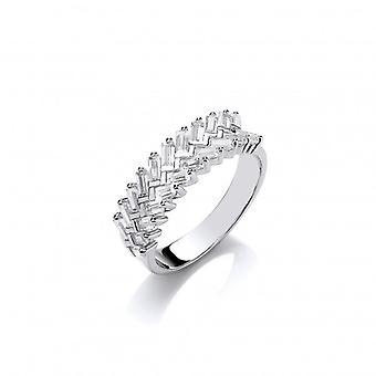Cavendish Französisch Silber und CZ Kranz Ring