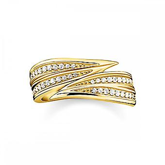 Thomas Sabo Magic Garden Gold & White Zirconia Leaves Band Ring