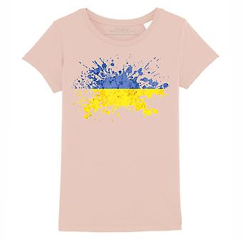 STUFF4 Girl's Round Neck T-Shirt/Ukraine/Ukrainian Flag Splat/Coral Pink