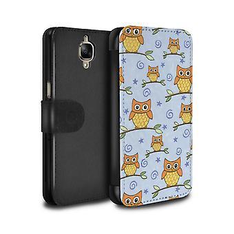 STUFF4 PU Leather Wallet Flip Case/Cover for OnePlus 3/3T/Orange/Blue/Cute Owl Pattern