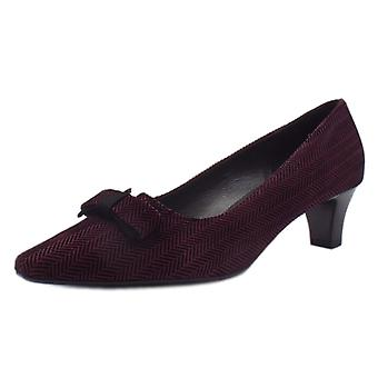 Peter Kaiser Saris Wide Fit Court Shoes With Bow In Cabernet Trama