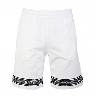 EA7 Emporio Armani EA7 Bermuda Logo Tape Jogging Shorts White 3HPS56 PJ05Z