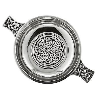 """Celtic Knot Pewter Quaich with Central Knot Work Disc - 3.5"""""""