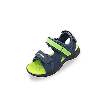 Geox j gleeful navy and lime adjustable sandals