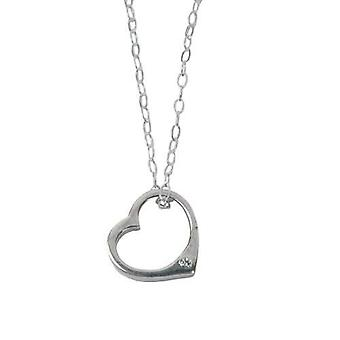 Toc Genuine Diamond Sterling Silver Floating Heart Pendant