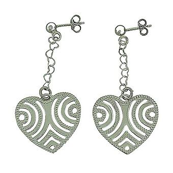 TOC Sterling Silver Fancy Long Drop Heart Earrings