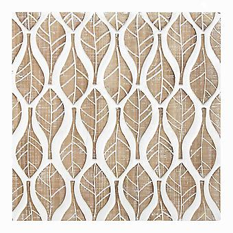 Carved Leaf White Wood Wall Decor