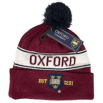 Oub102 licensed unisex oxford university™ pom pom ski hat maroon