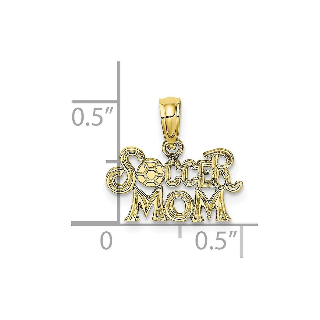 10k Gold Soccer Mom With Soccer Ball Charm Pendant Necklace Jewelry Gifts for Women - .5 Grams