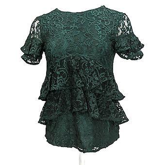 Du Jour Womens Top (XXS) Tiered Knit Lace W/ Back Keyhole Green A342175 PTC