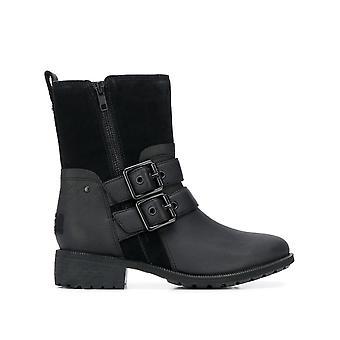 Ugg Ezcr013002 Women's Black Leather Ankel Støvler