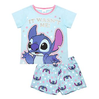 Disney Lilo And Stitch Girl's Blue Short Pyjama Set