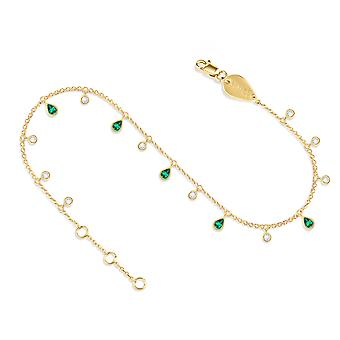 Anklet Glitter 18K Gold and Diamonds - Yellow Gold, Emerald