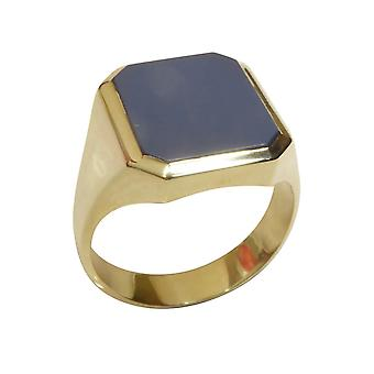 Gold blue layer stone cachet ring