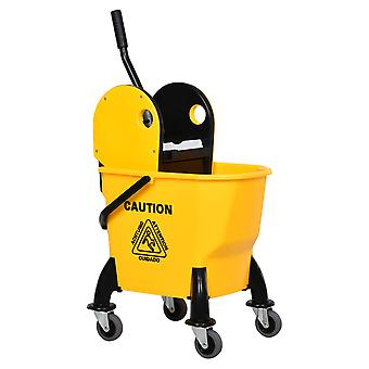 HOMCOM 26L Mop Bucket & Water Wringer w/ 4 Wheels Plastic Body Metal Handle Pole Holder Home Commercial Cleaning Floor Cart Yellow