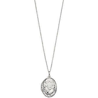 Elements Silver Rose Bush Locket Pendant - Silver