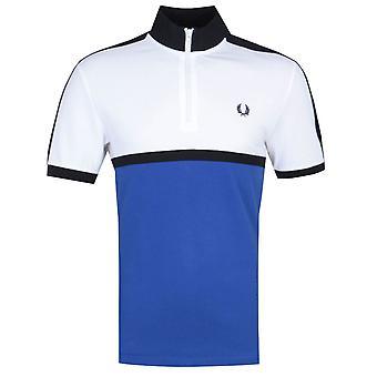 Fred Perry Colour Block White & Bright Regal Blue Polo Shirt