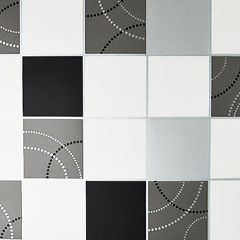 Dotty Wallpaper Kitchen Bathroom Black Silver Tile Effect Washable