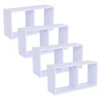 Wooden Double Cube Wall Shelf Hanging Decoration Shelves Storage Display Unit Set Of 4