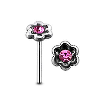 Single Gem Flower Straight Barbell Nose Pin