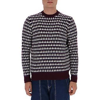 Prada Umb0941a8wf00t7 Männer's Burgund Wolle Pullover