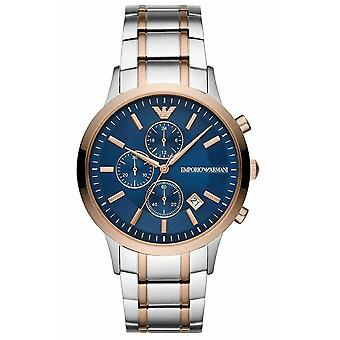 Armani Watches Ar80025 Silver, Rose Gold & Blue Stainless Steel Chronograph Men's Watch
