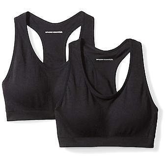 Essentials Women's 2-Pack Light Support Seamless Sports Bras, Black/Bl...